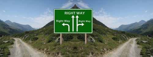 Roadsign show right way in all directions