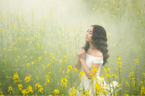 Praying young woman in a field of yellow flowers