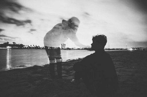 Man on beach feels presence of an ancestor