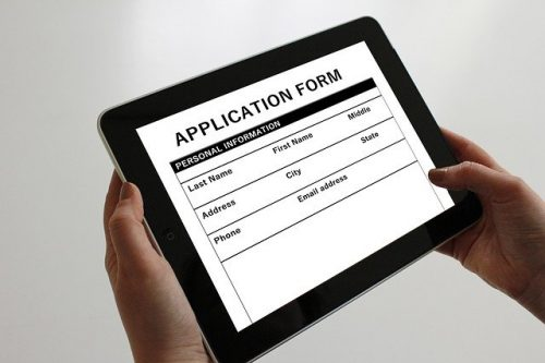 Application form on tablet computer