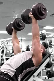 Barbells lifted above head