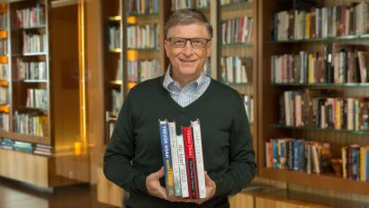 Bill Gates in a library