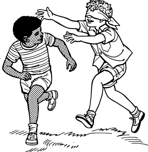 illustration of 2 children playing blindfolds
