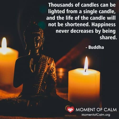 Candles and Buddha quote about light