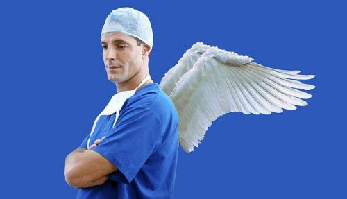 Surgeon with angel wings