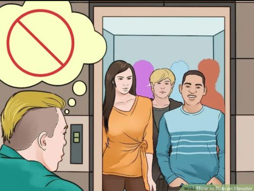 illustration of man entering a crowded elevator