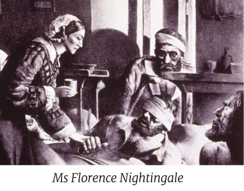 Ms Florence Nightingale tending wounded soldiers.
