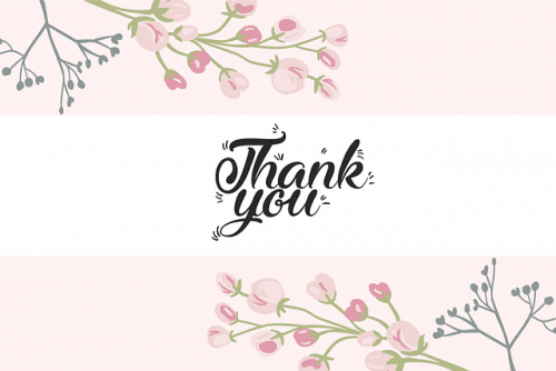 Thank you floral illustrated card