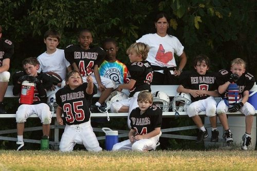 Kids benched on a football team