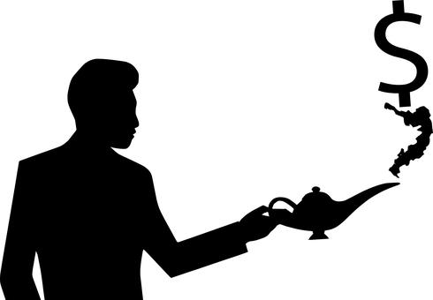 silhouette of a man holding magic oil lamp