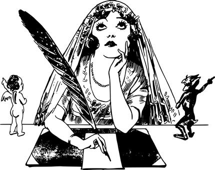 illustration of woman writer with angel and devil talking to her