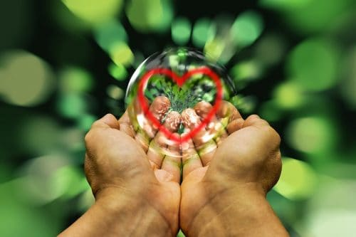 hands holding bubble containing a heart shape