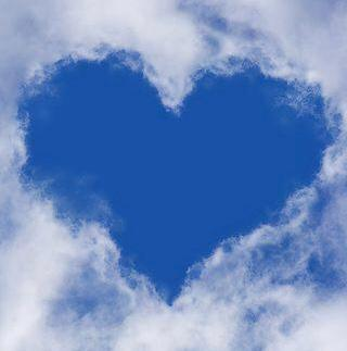 heart-shaped space amid clouds