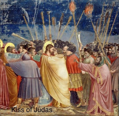 Kiss of Judas in historic painting