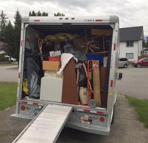 Moving truck loaded with stuff