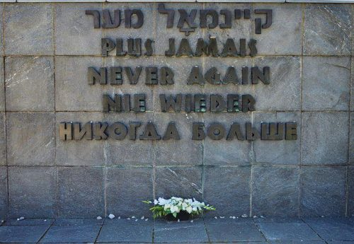 Never again! Holocaust memorial.