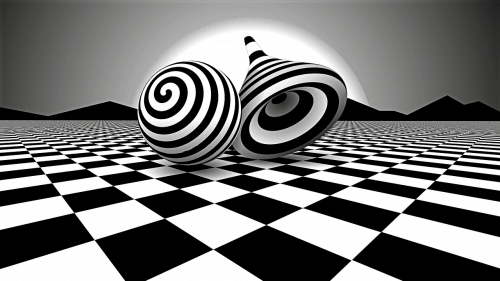 black and white op art landscape of the future