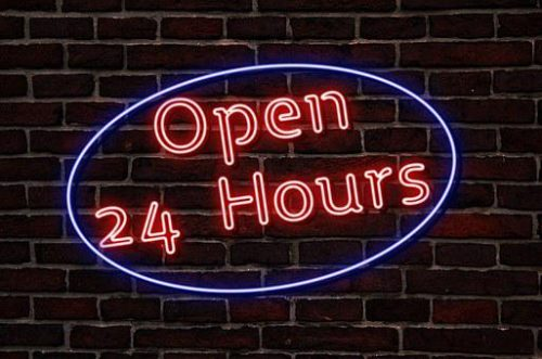 Neon sign - open 24 hours
