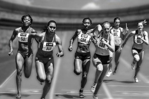 women in a race