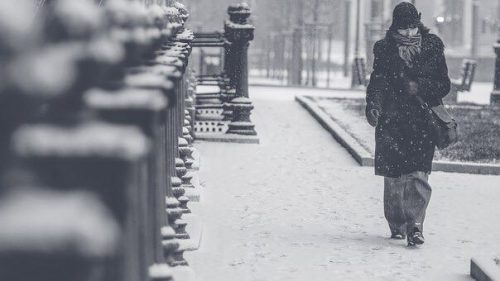 Woman in warm coat on a snowy day
