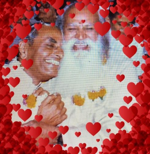 Dada J.P. Vaswani and Swami Satchidananda laughing with love