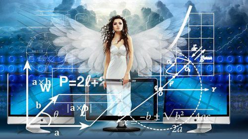 Angle in white dress with scientific notation