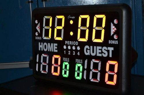 scoreboard at half-time
