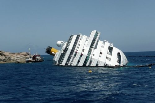Sinking cruise liner