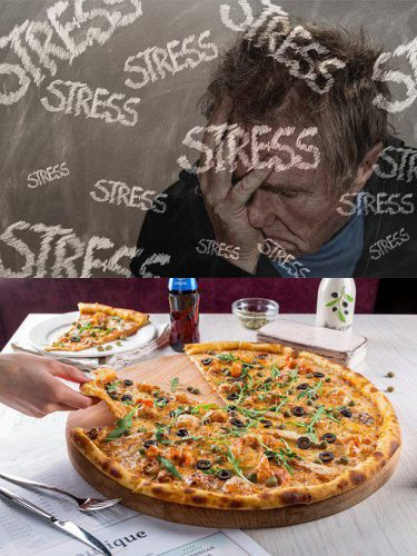 Stress - eating pizza