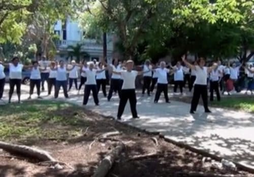 Tai Chi practice group in park