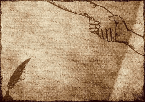 Handshake illustration on ancient book.