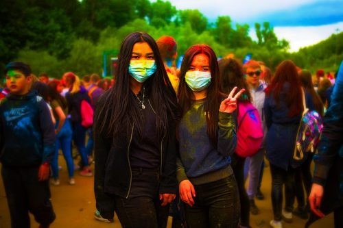 Face masks at the Festival of Colors