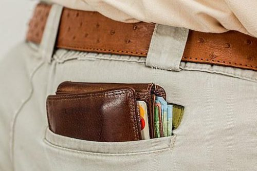Man's wallet in back pocket