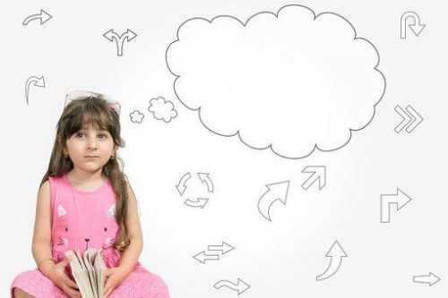 Girl with thought cloud about what she wants