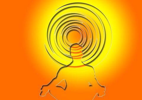 Illustration of human with orange aura